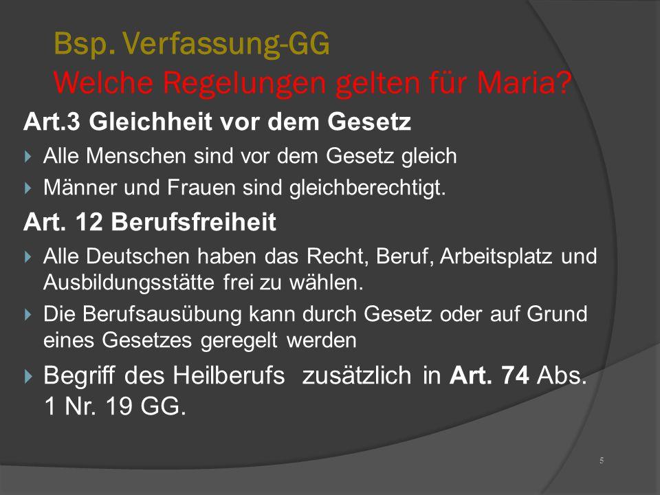Bsp. Verfassung-GG Welche Regelungen gelten für Maria