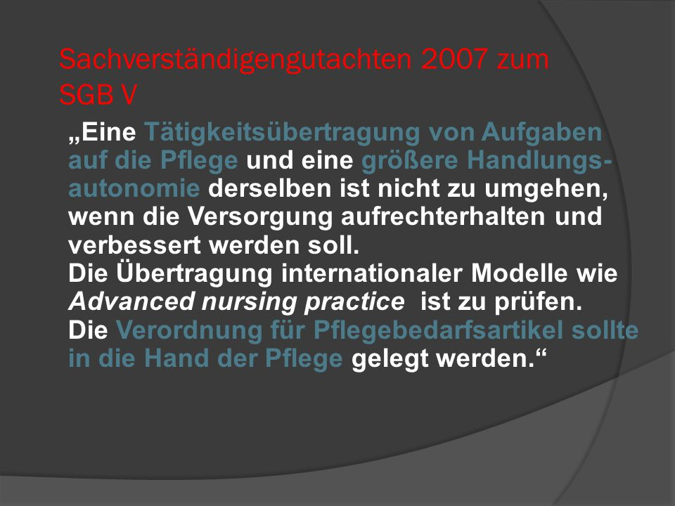 Sachverständigengutachten 2007 zum SGB V