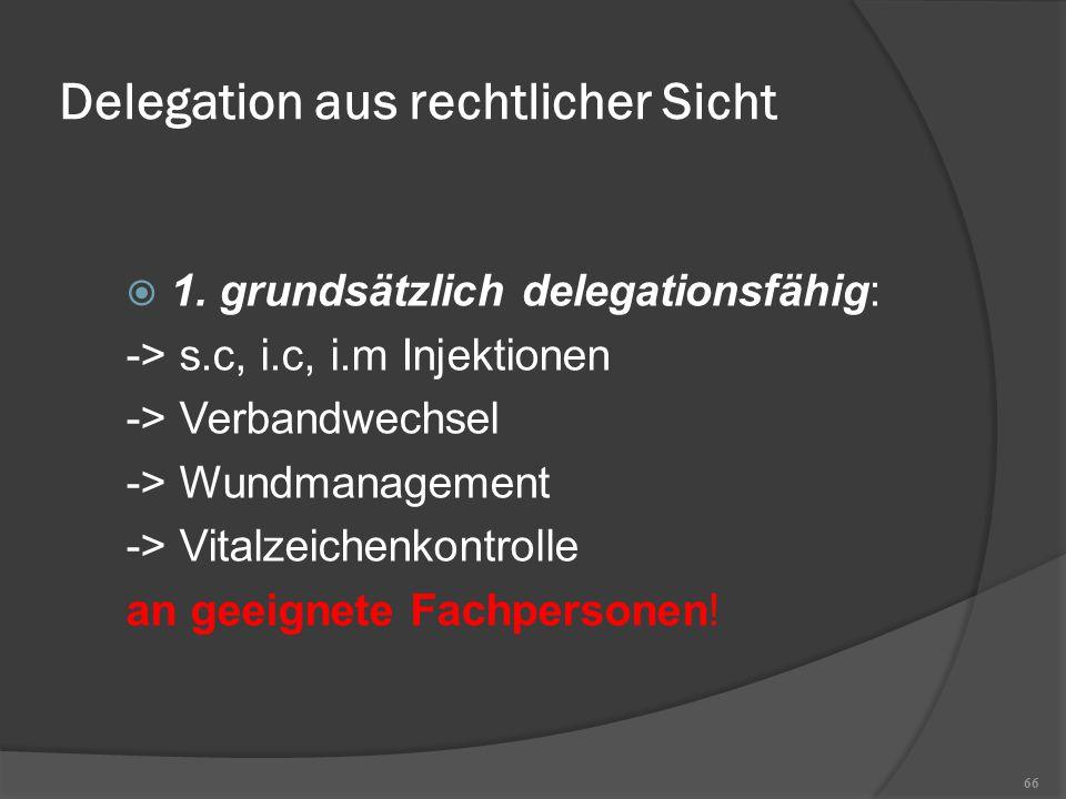 Delegation aus rechtlicher Sicht