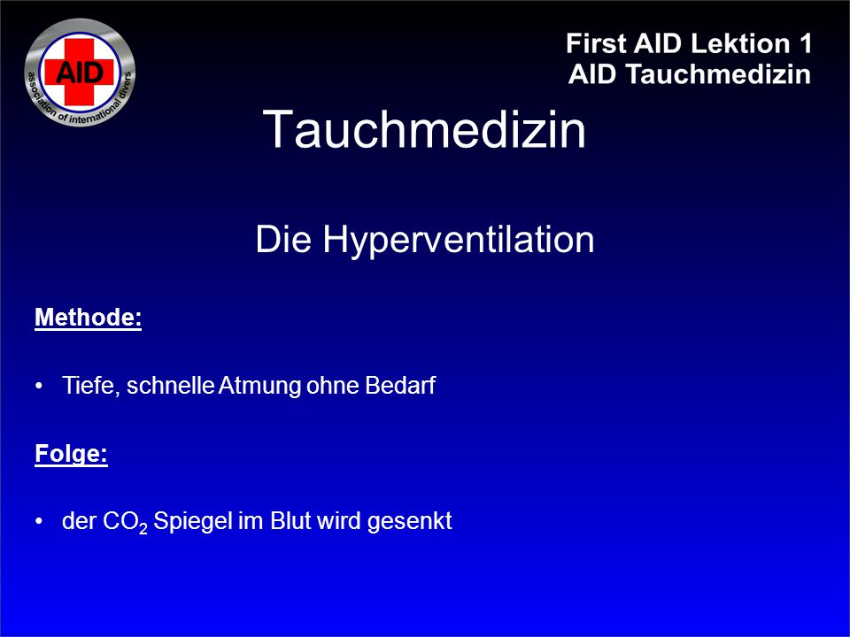 Tauchmedizin Die Hyperventilation Methode: