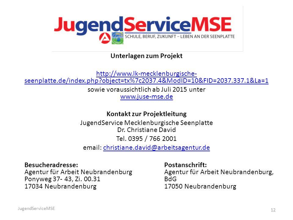 Unterlagen zum Projekt Kontakt zur Projektleitung