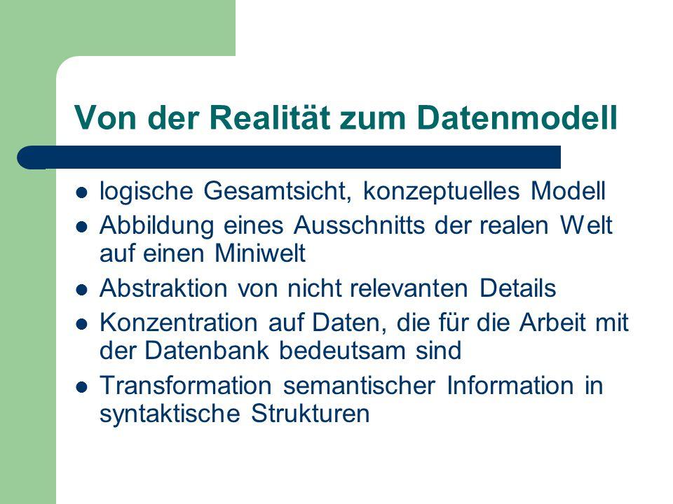 Von der Realität zum Datenmodell
