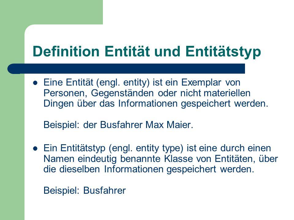 Definition Entität und Entitätstyp