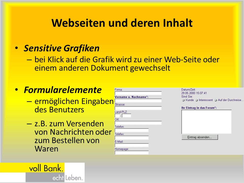 Webseiten und deren Inhalt