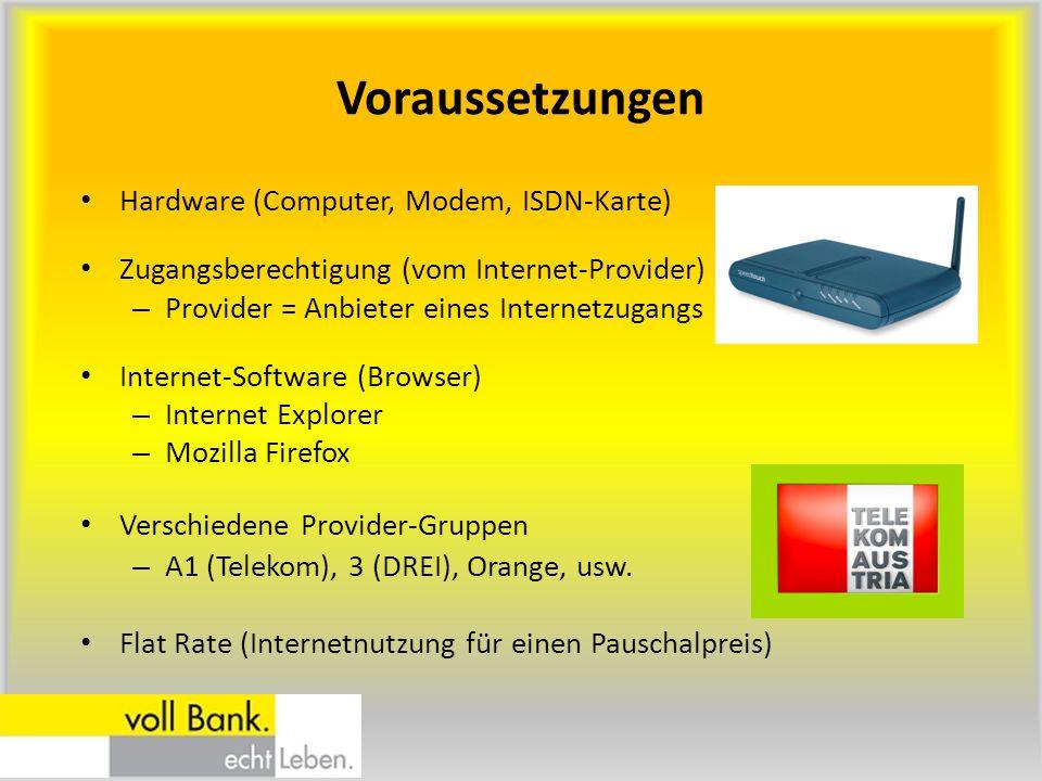 Voraussetzungen Hardware (Computer, Modem, ISDN-Karte)