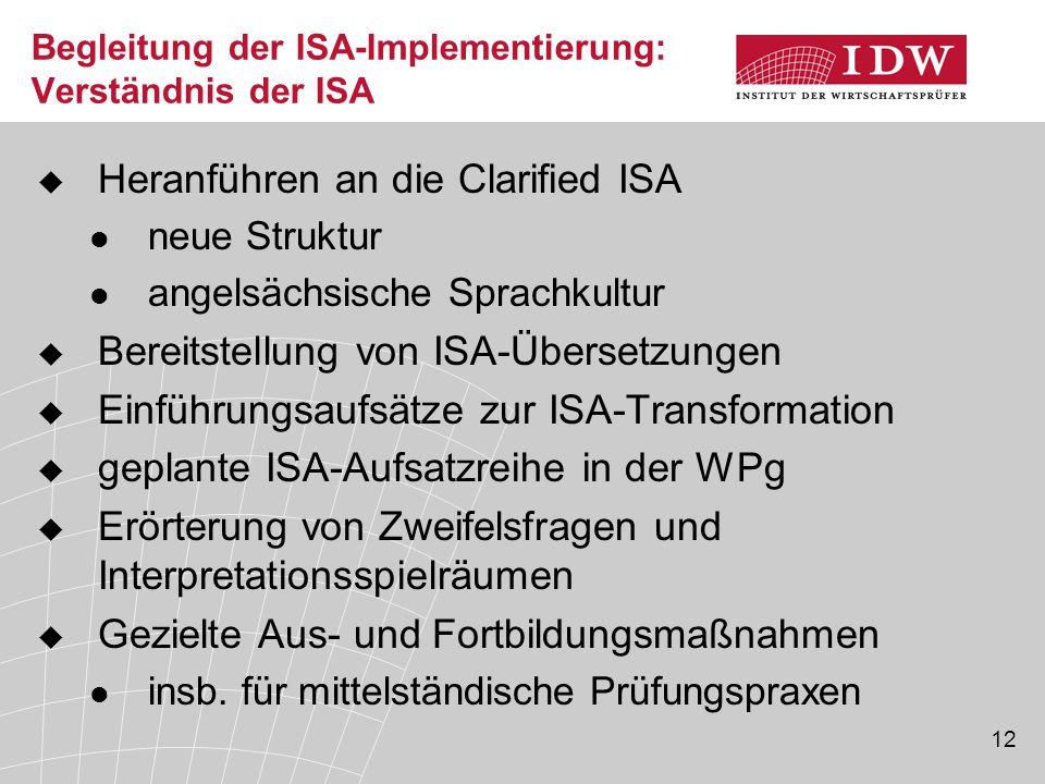 Begleitung der ISA-Implementierung: Verständnis der ISA