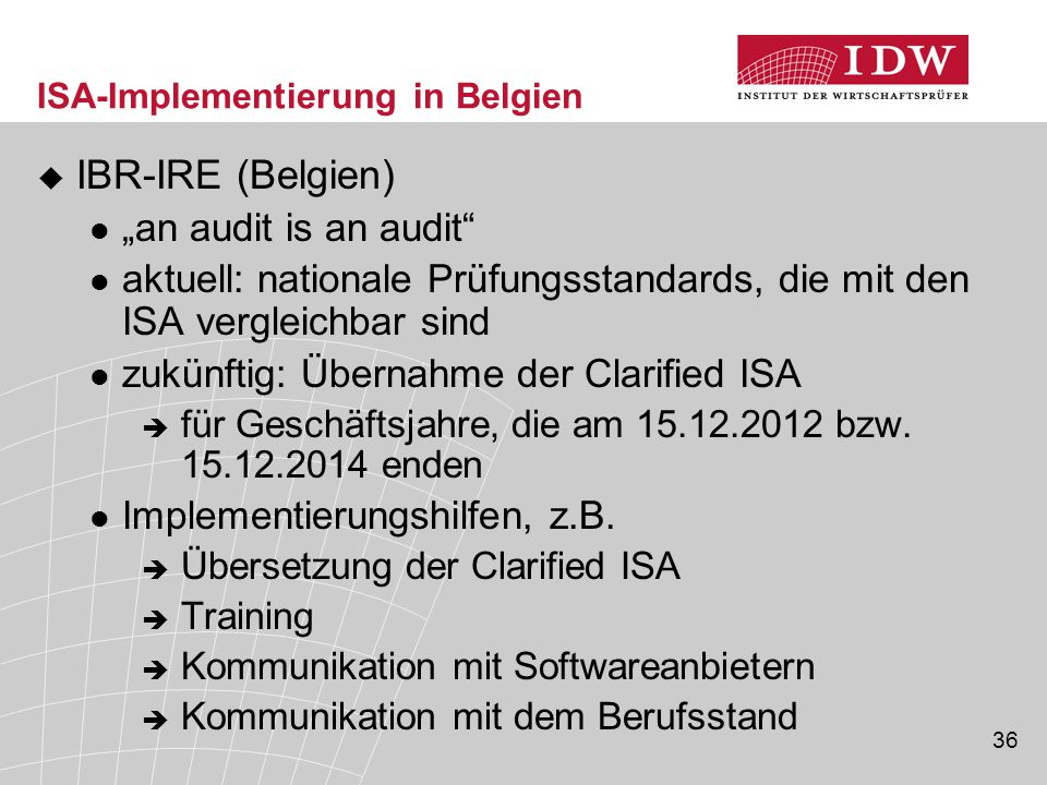 ISA-Implementierung in Belgien