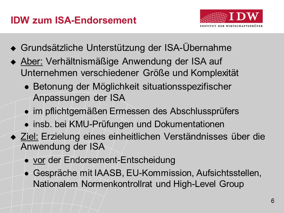IDW zum ISA-Endorsement