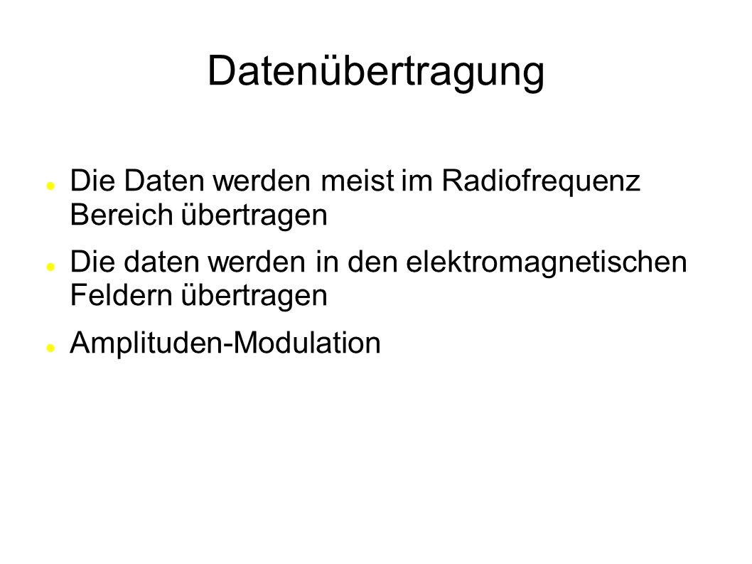 Datenübertragung Die Daten werden meist im Radiofrequenz Bereich übertragen. Die daten werden in den elektromagnetischen Feldern übertragen.