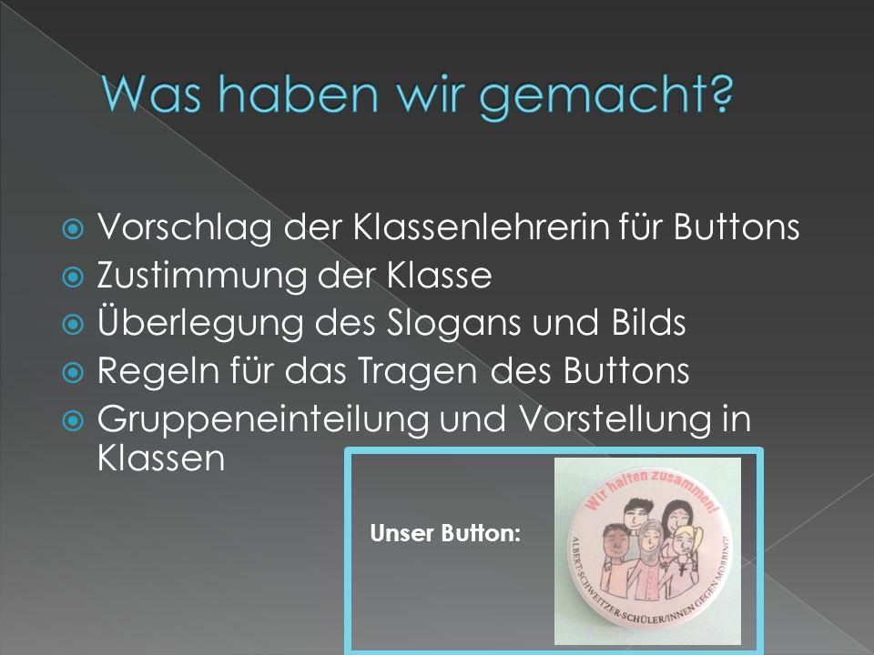 Was haben wir gemacht Vorschlag der Klassenlehrerin für Buttons