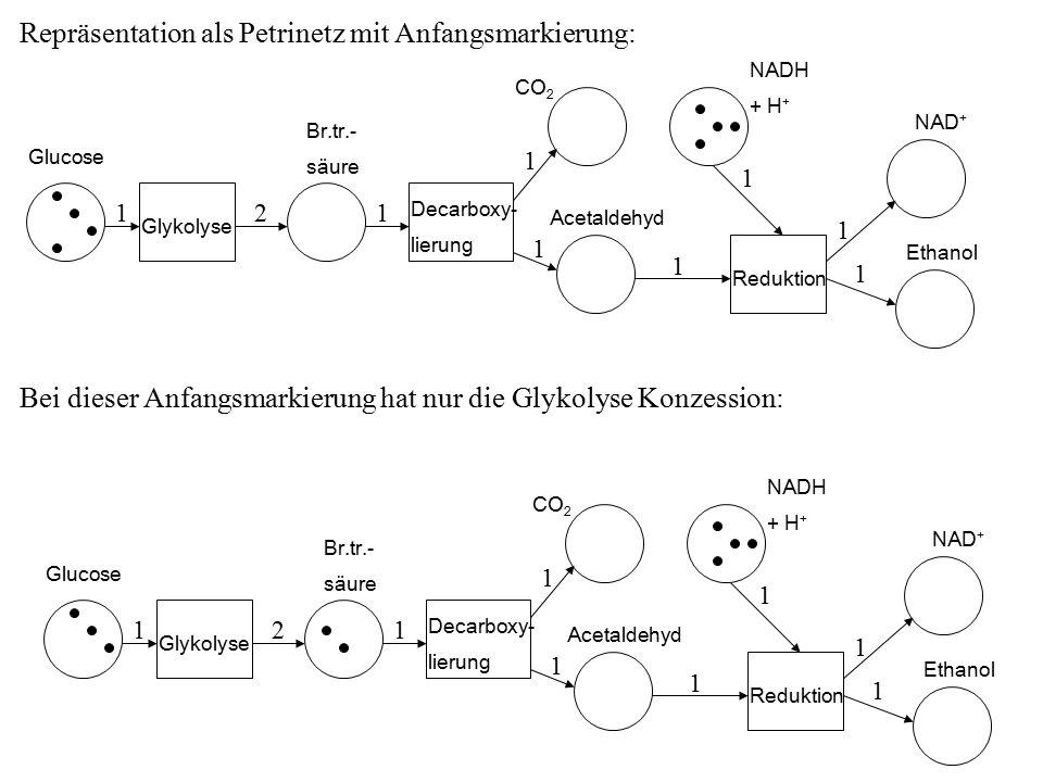 Repräsentation als Petrinetz mit Anfangsmarkierung: