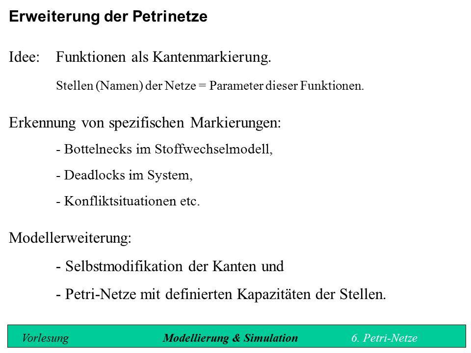 Erweiterung der Petrinetze Idee: Funktionen als Kantenmarkierung.