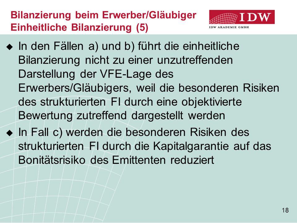 Bilanzierung beim Erwerber/Gläubiger Einheitliche Bilanzierung (5)