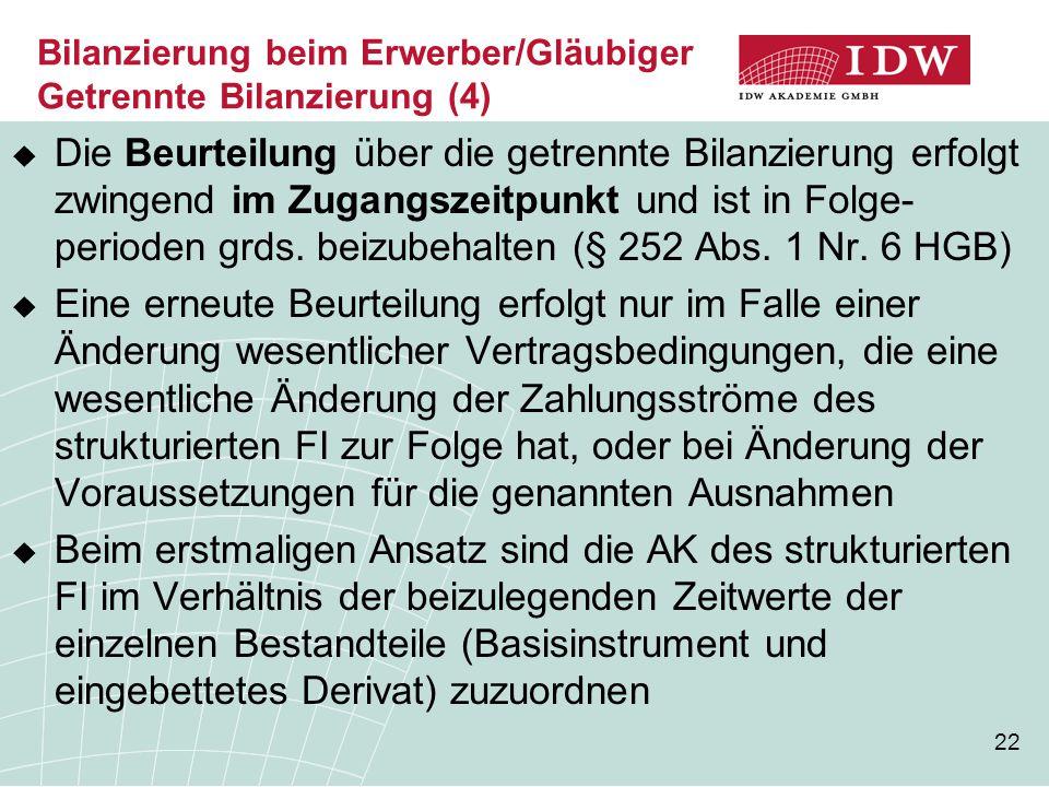 Bilanzierung beim Erwerber/Gläubiger Getrennte Bilanzierung (4)