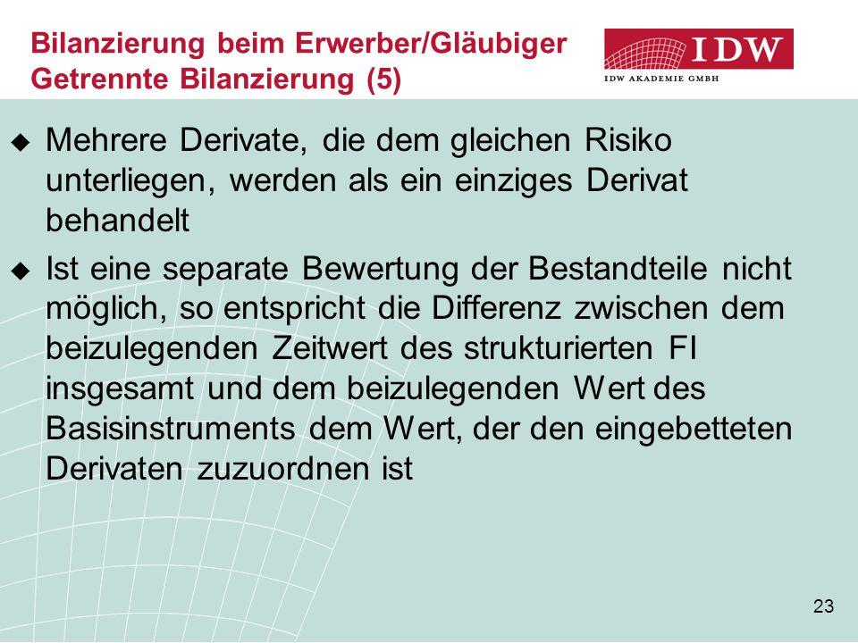 Bilanzierung beim Erwerber/Gläubiger Getrennte Bilanzierung (5)
