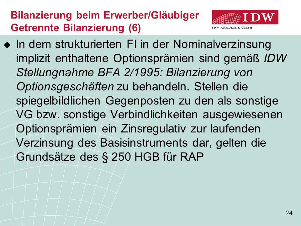 Bilanzierung beim Erwerber/Gläubiger Getrennte Bilanzierung (6)