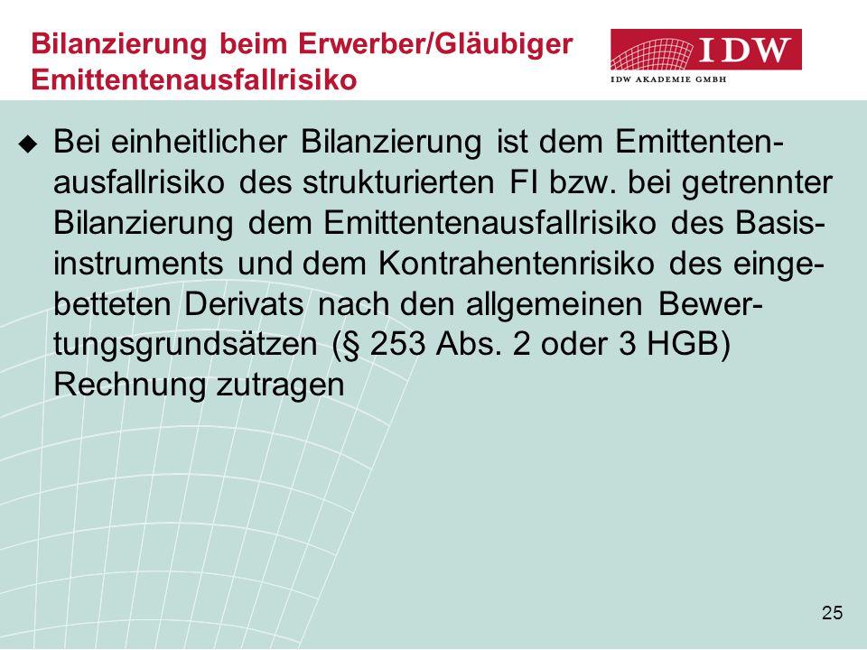 Bilanzierung beim Erwerber/Gläubiger Emittentenausfallrisiko