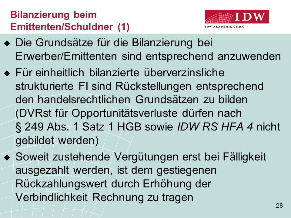 Bilanzierung beim Emittenten/Schuldner (1)
