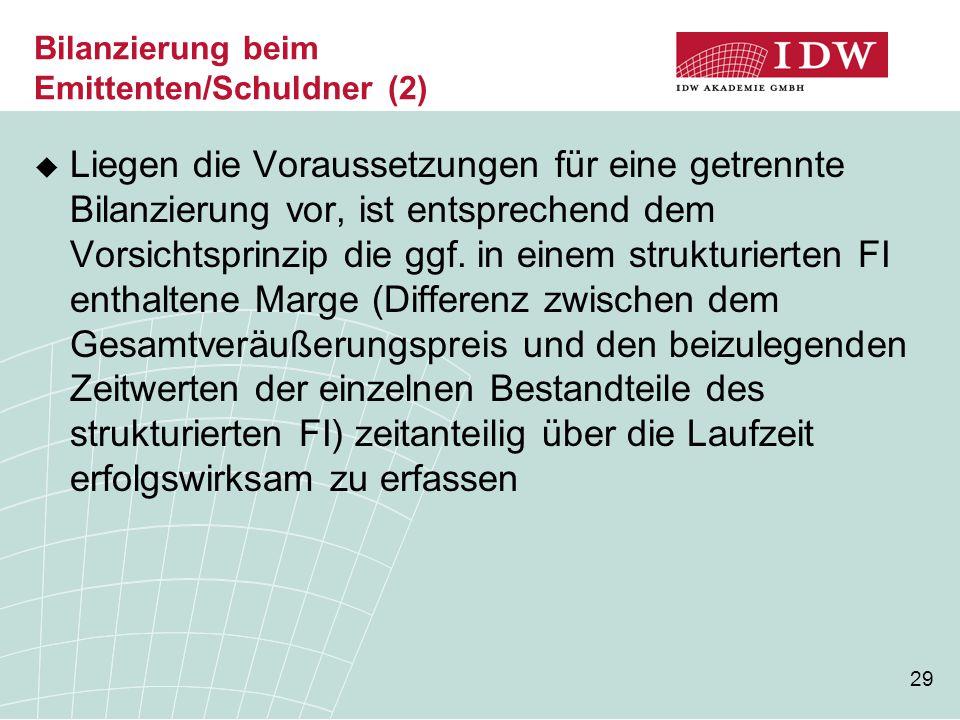Bilanzierung beim Emittenten/Schuldner (2)