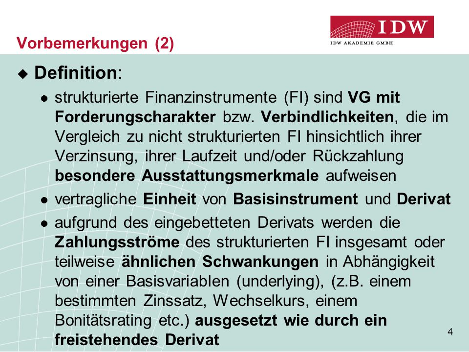Definition: Vorbemerkungen (2)