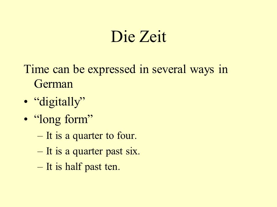 Die Zeit Time can be expressed in several ways in German digitally