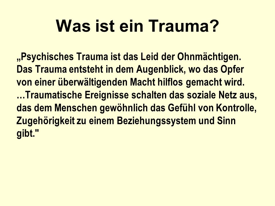 Was ist ein Trauma