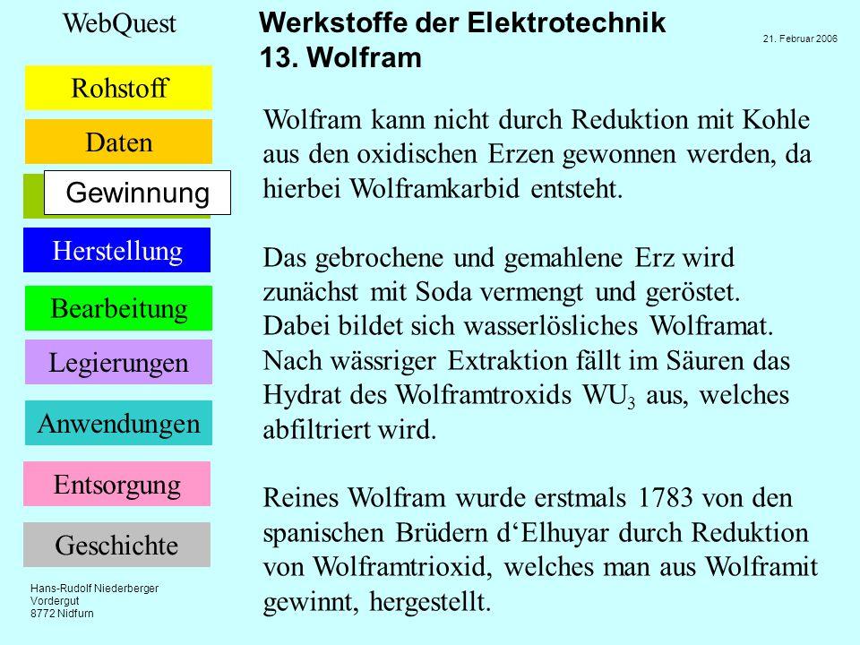 Wolfram kann nicht durch Reduktion mit Kohle aus den oxidischen Erzen gewonnen werden, da hierbei Wolframkarbid entsteht.