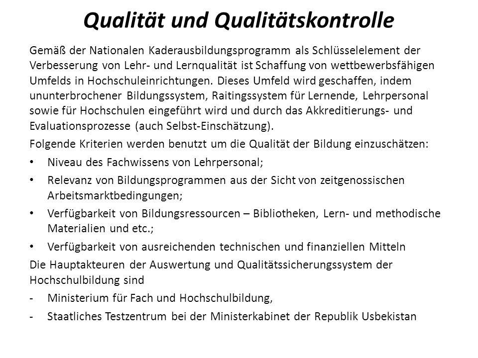 Qualität und Qualitätskontrolle
