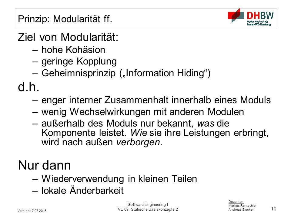 Prinzip: Modularität ff.