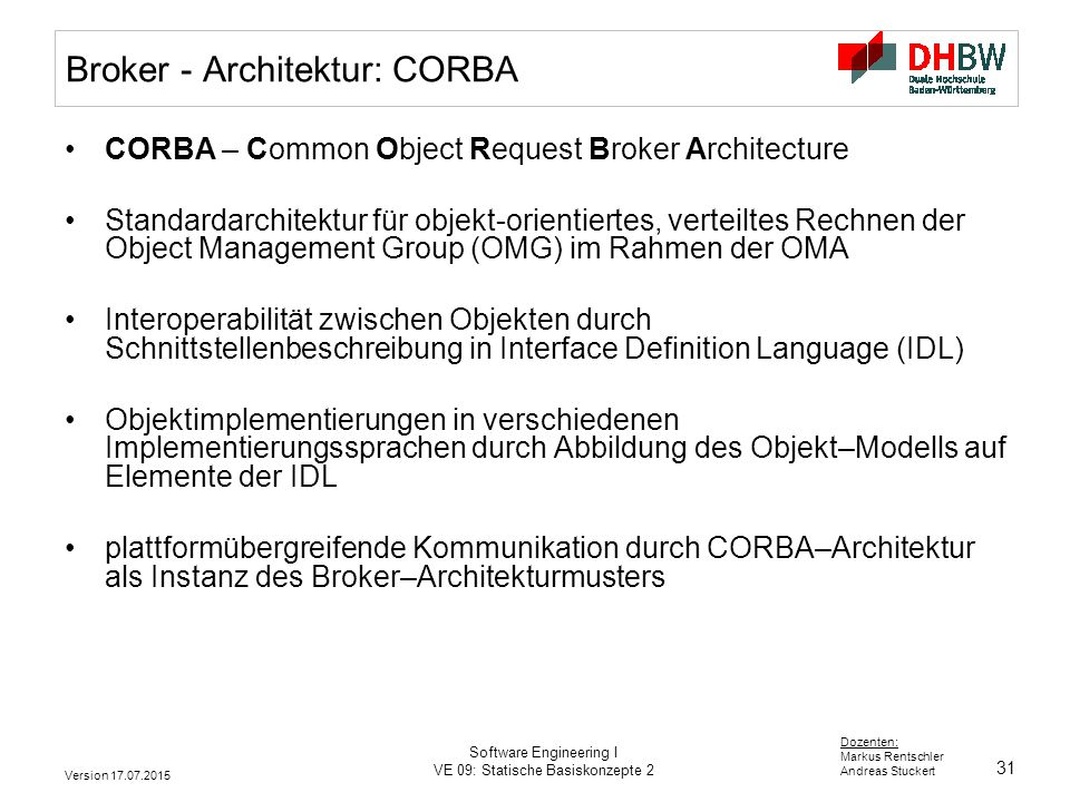 Broker - Architektur: CORBA