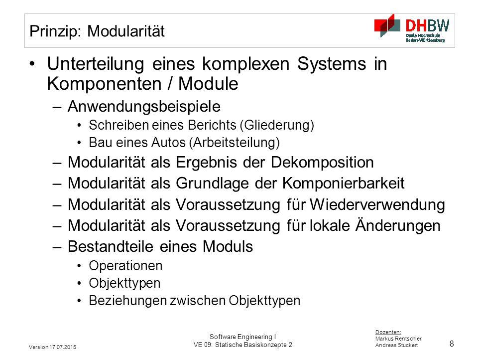 Unterteilung eines komplexen Systems in Komponenten / Module