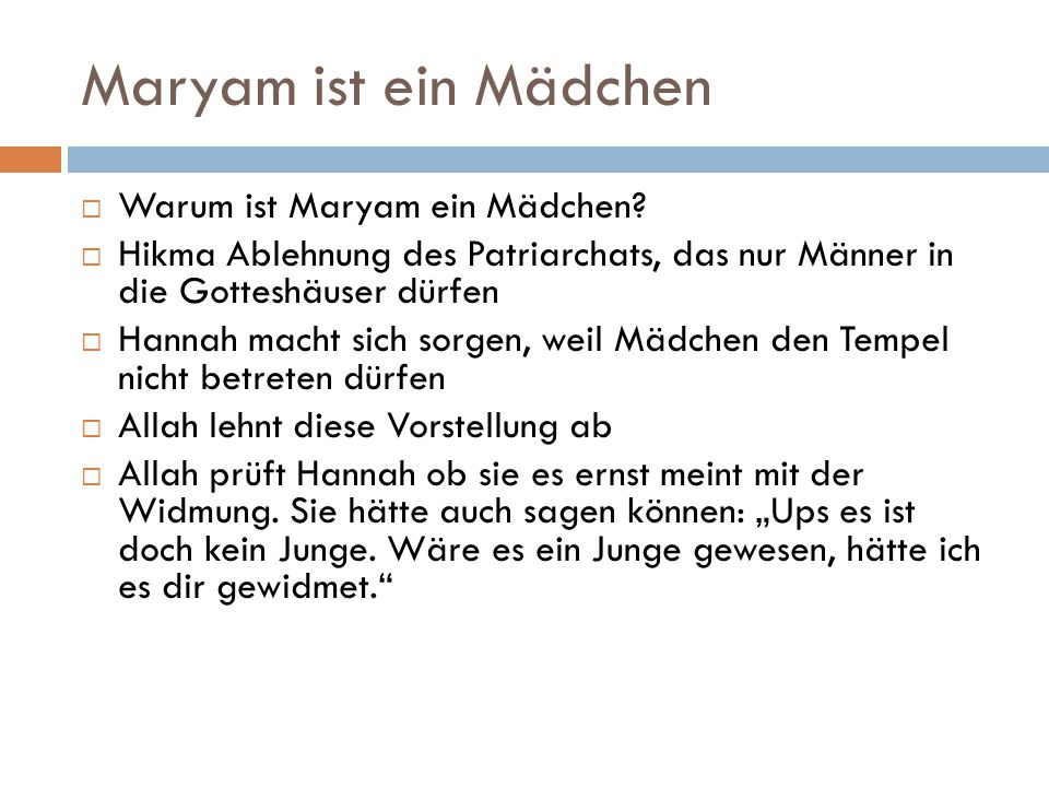 Maryam ist ein Mädchen Warum ist Maryam ein Mädchen