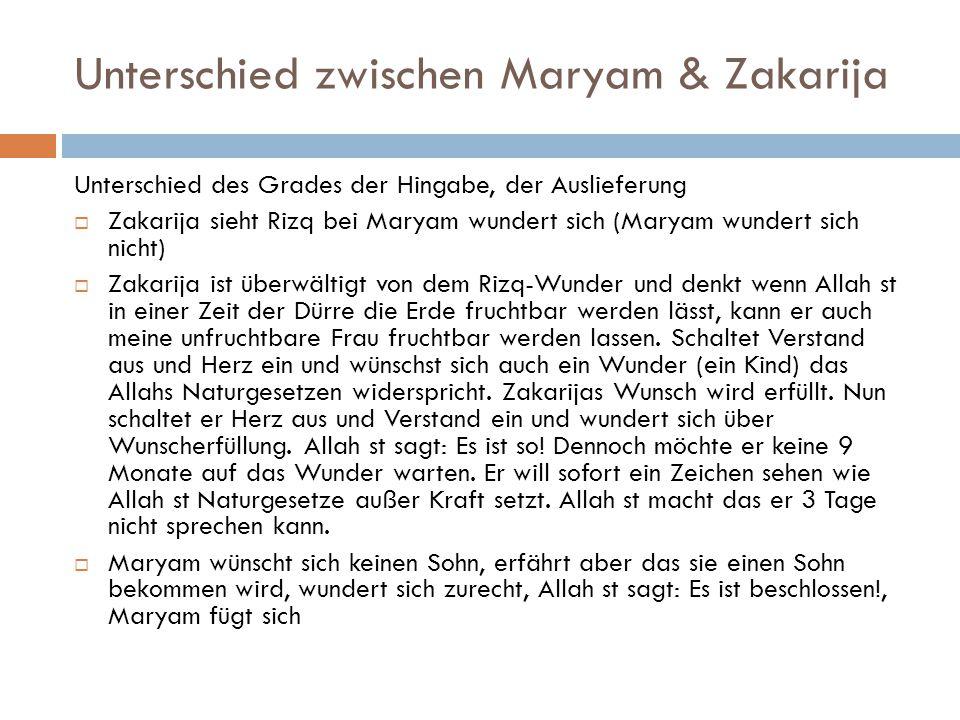 Unterschied zwischen Maryam & Zakarija
