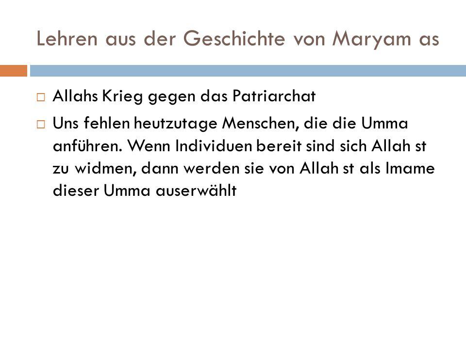 Lehren aus der Geschichte von Maryam as