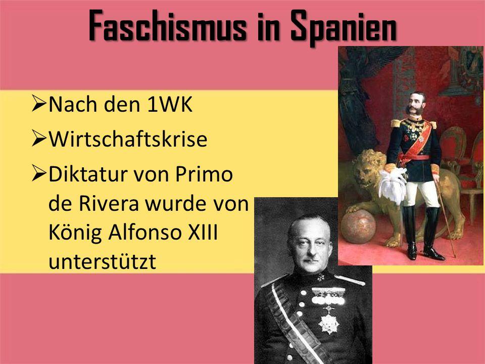 Faschismus in Spanien Nach den 1WK Wirtschaftskrise