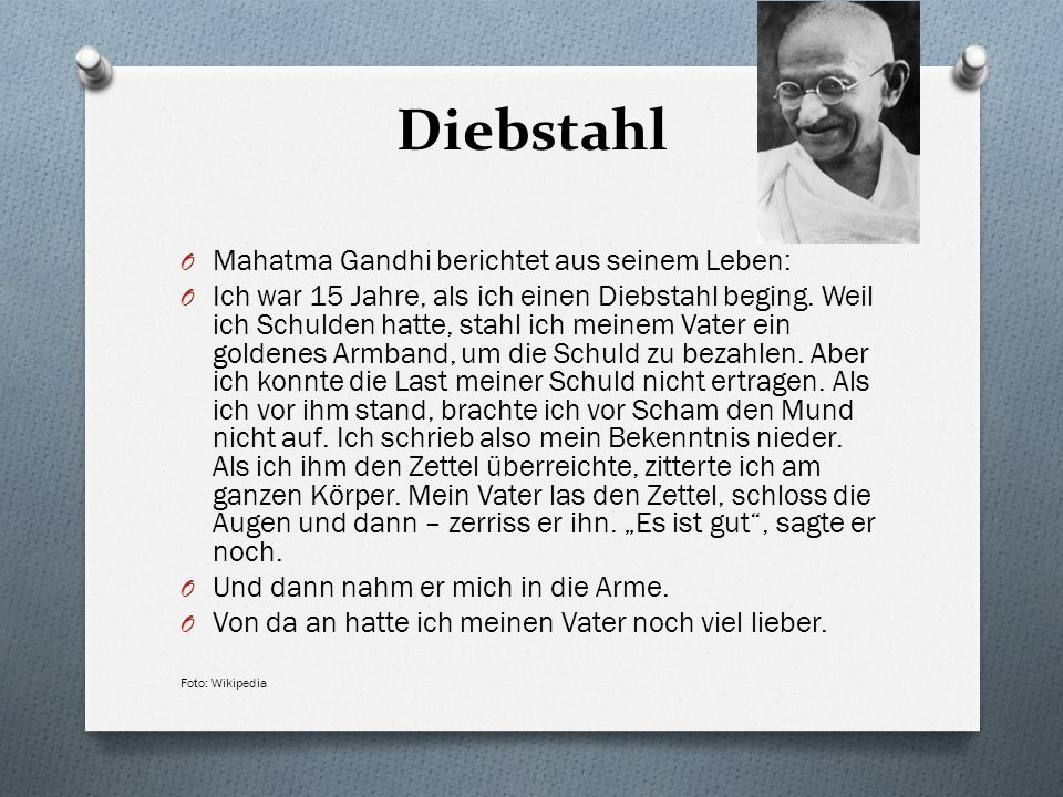 Diebstahl Mahatma Gandhi berichtet aus seinem Leben: