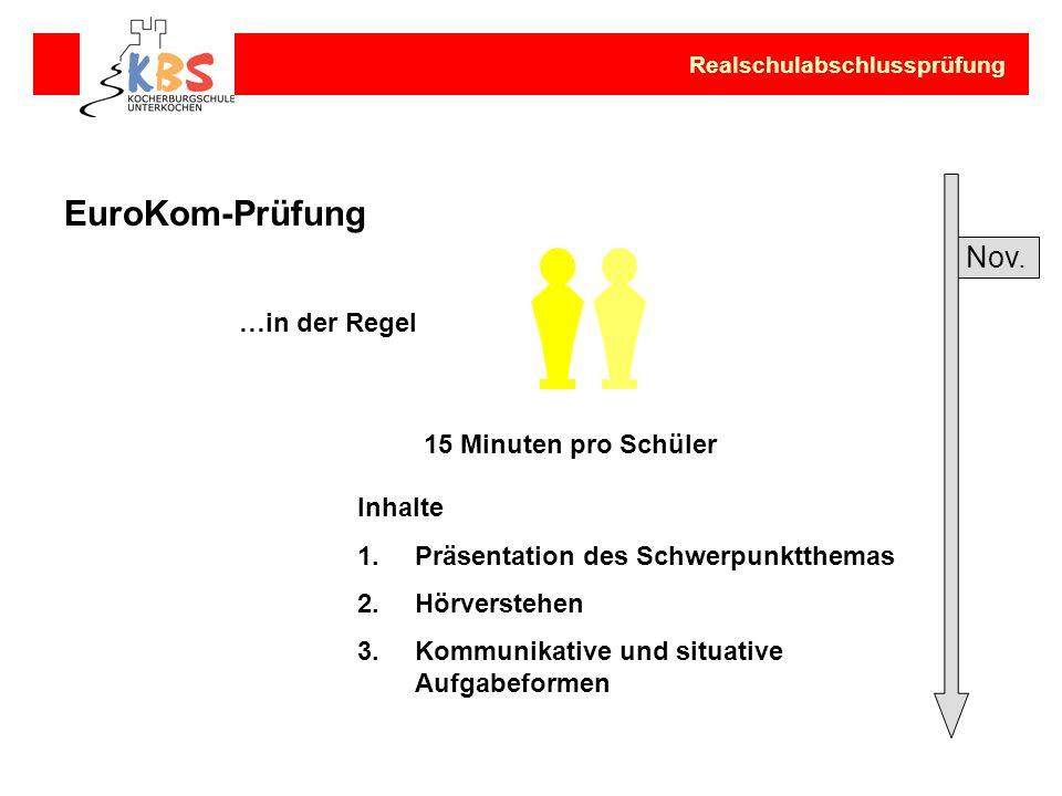 EuroKom-Prüfung Nov. …in der Regel 15 Minuten pro Schüler Inhalte
