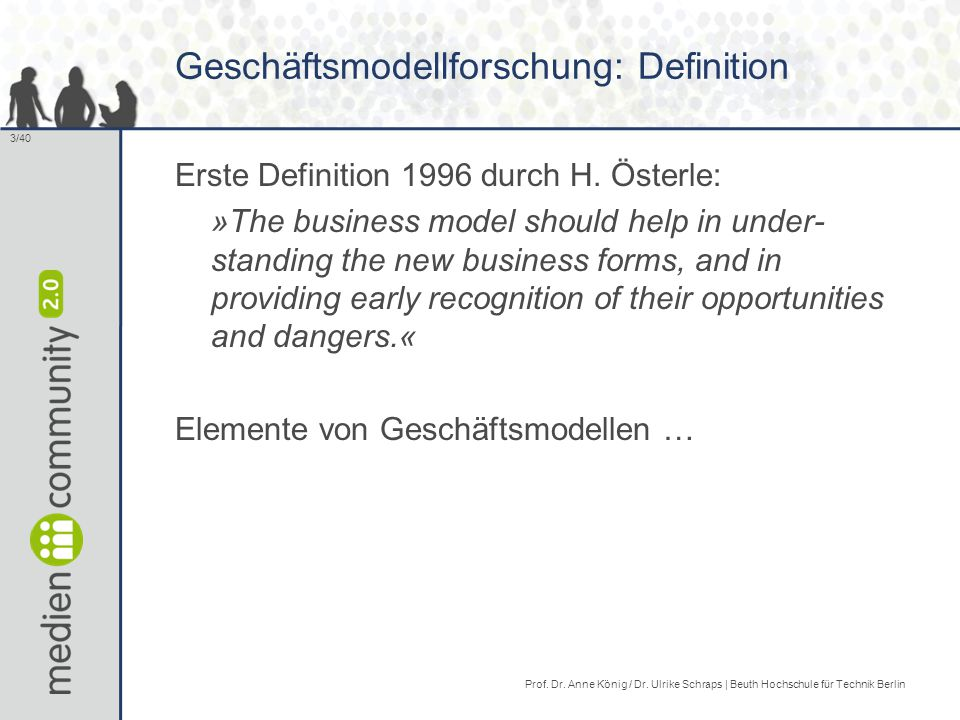 Geschäftsmodellforschung: Definition