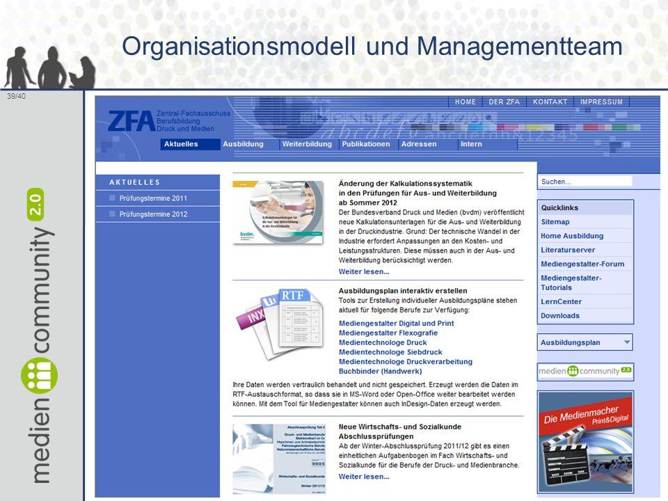 Organisationsmodell und Managementteam