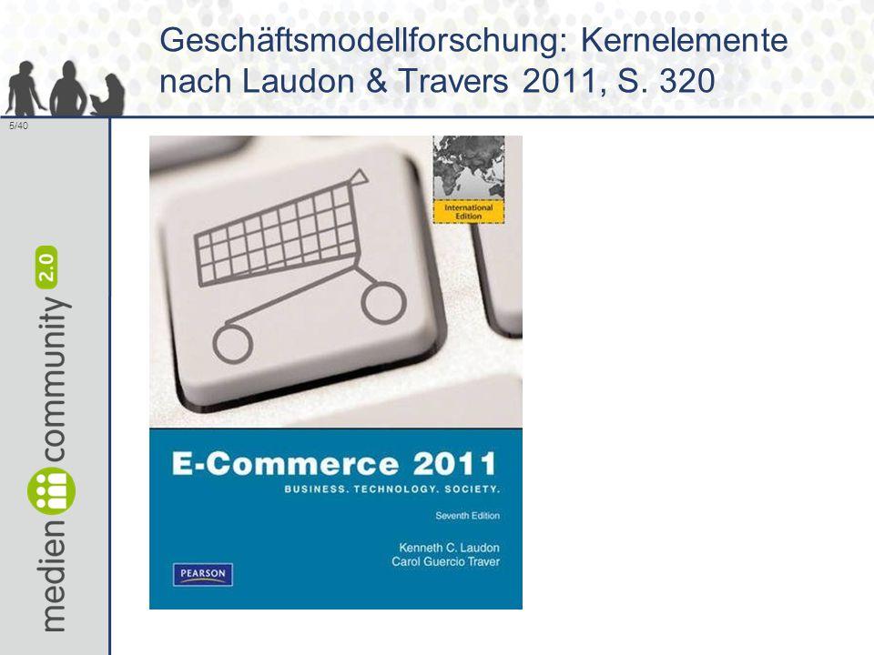 Geschäftsmodellforschung: Kernelemente nach Laudon & Travers 2011, S