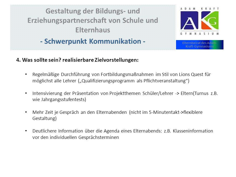 - Schwerpunkt Kommunikation - Elternbeirat des Adam-Kraft-Gymnasiums