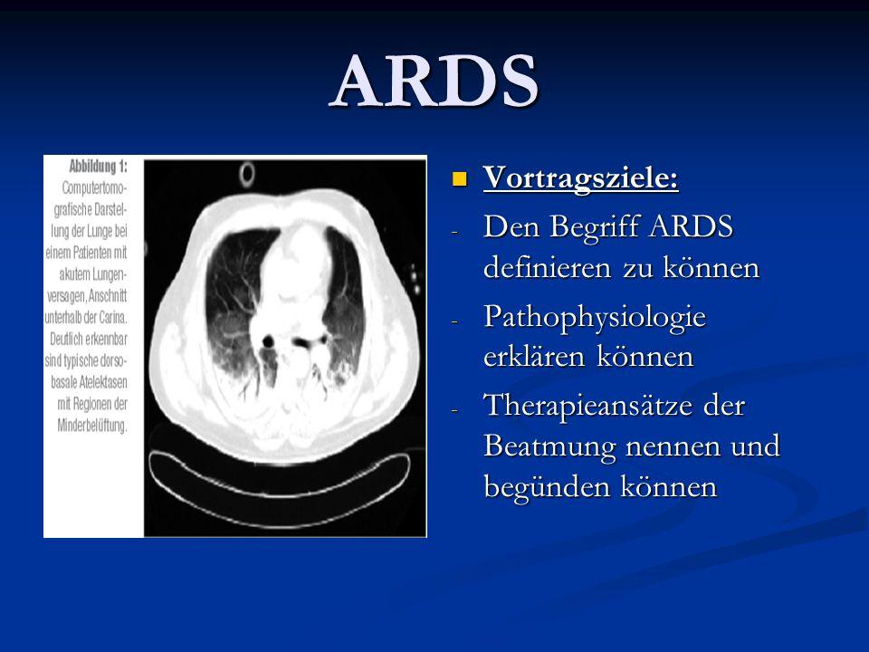 ARDS Vortragsziele: Den Begriff ARDS definieren zu können