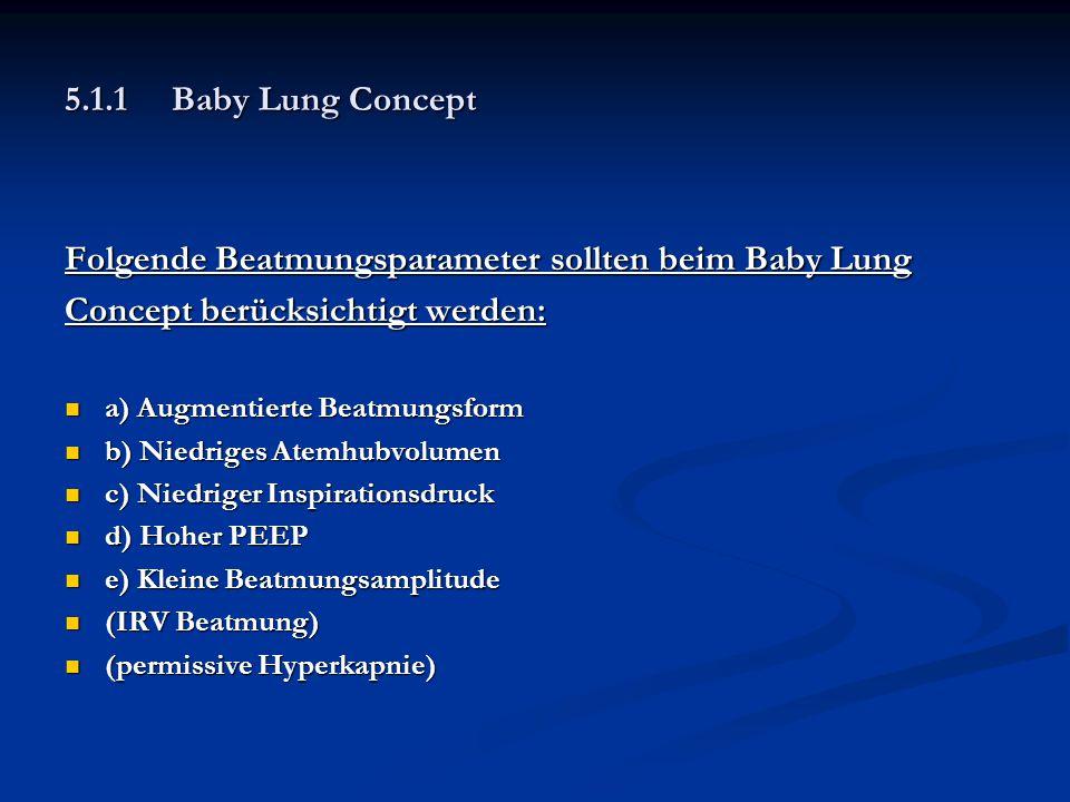 Folgende Beatmungsparameter sollten beim Baby Lung