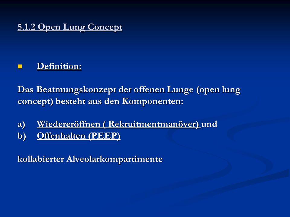 5.1.2 Open Lung Concept Definition: Das Beatmungskonzept der offenen Lunge (open lung. concept) besteht aus den Komponenten: