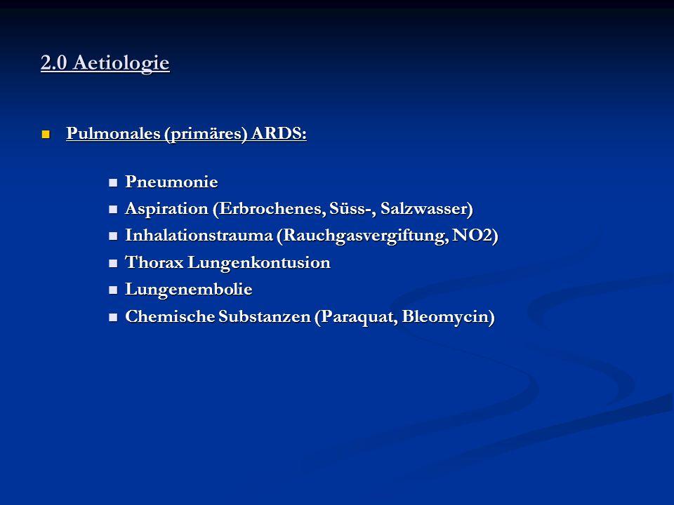 2.0 Aetiologie Pulmonales (primäres) ARDS: Pneumonie