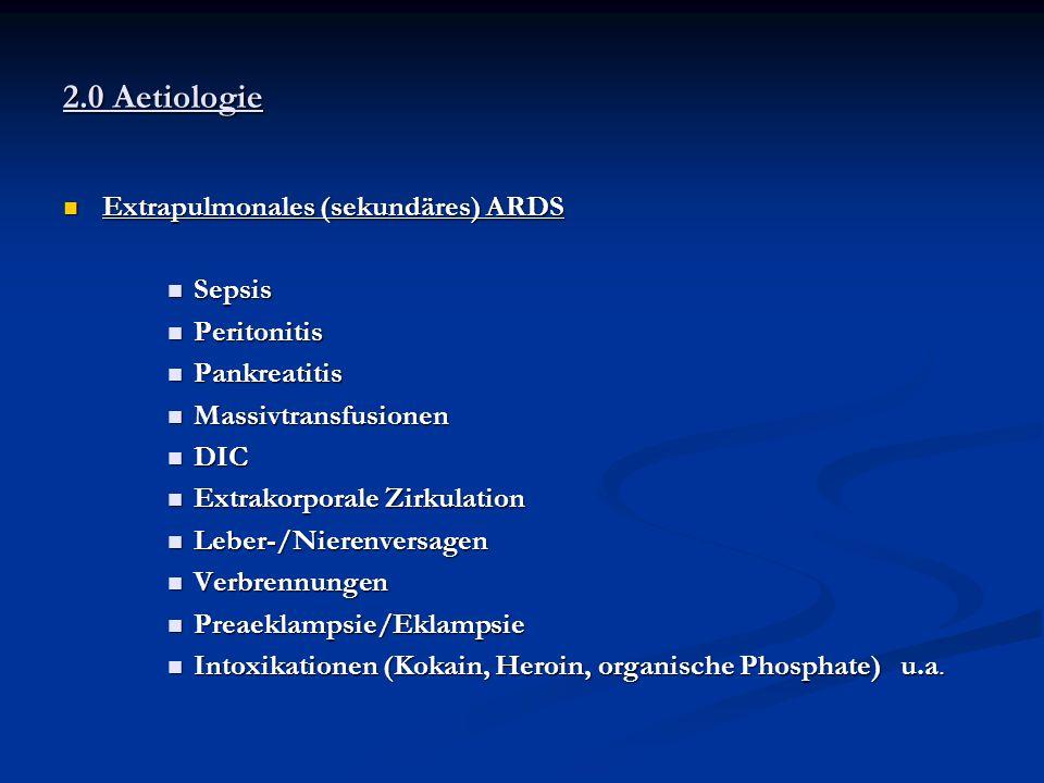 2.0 Aetiologie Extrapulmonales (sekundäres) ARDS Sepsis Peritonitis