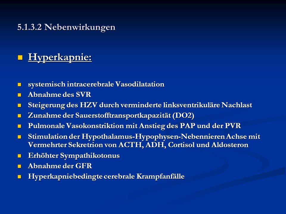 Hyperkapnie: 5.1.3.2 Nebenwirkungen