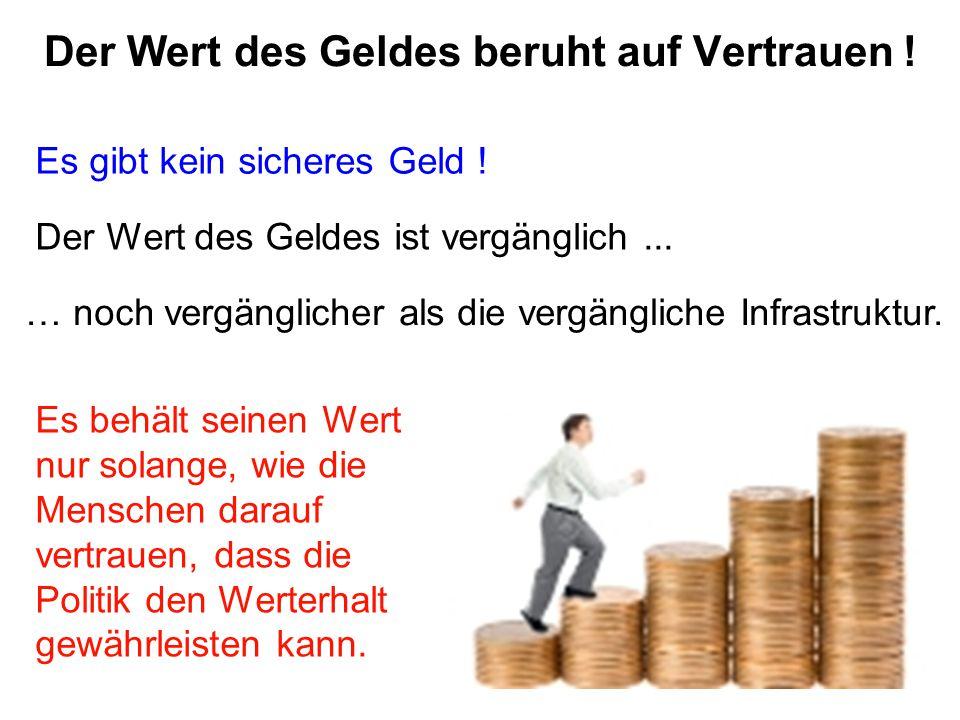 Der Wert des Geldes beruht auf Vertrauen !