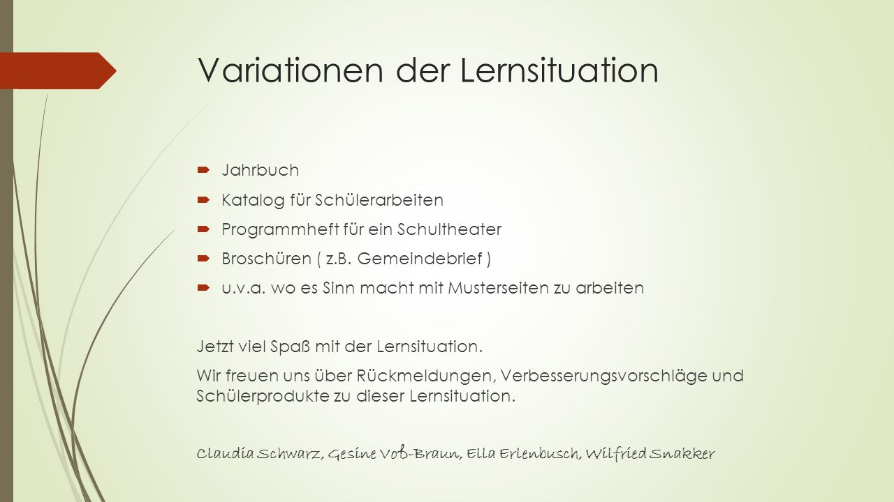 Variationen der Lernsituation