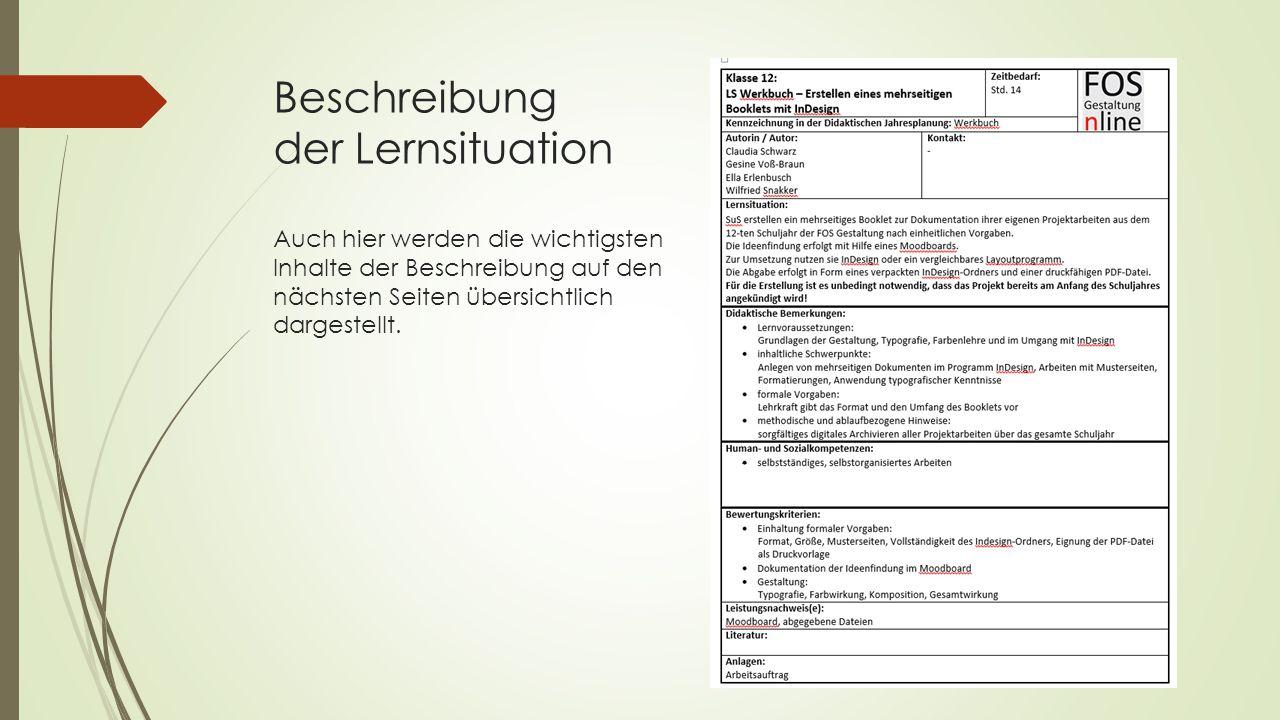 Beschreibung der Lernsituation Auch hier werden die wichtigsten Inhalte der Beschreibung auf den nächsten Seiten übersichtlich dargestellt.